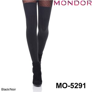 Mondor Black Over-the-knee Ribbed Socks 05291