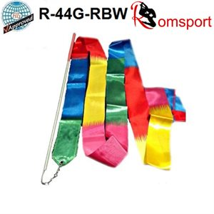 Romsports Rainbow Ribbon (6 m) & Stick with Red Grip (60 cm) Set R-44G-RBW